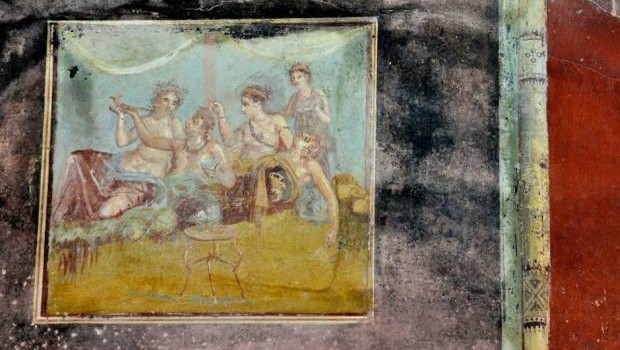 Pompeii Ruins - ancient Pompeii wall painting.